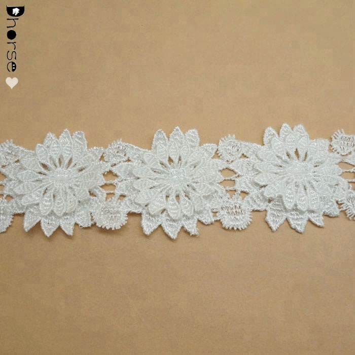 High quality white color lace chemical polyester material flower 3d lace trim DHDT342