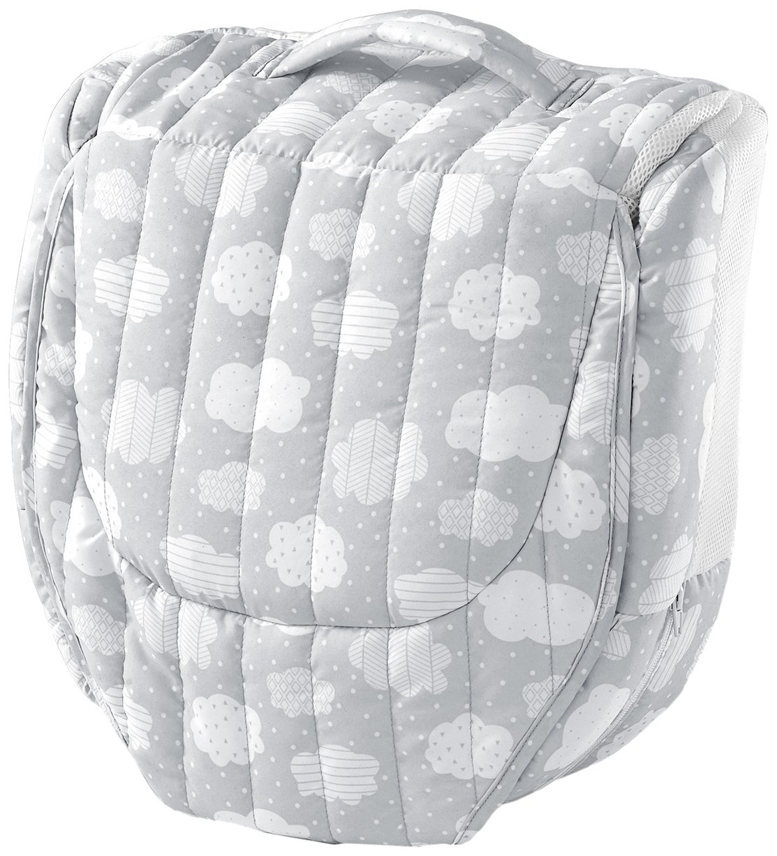 Baby Delight Snuggle Nest Harmony Infant Sleeper/Baby Bed with Incline Wedge | Silver Clouds Fabric Pattern | Portable Bassinet/Co-Sleeper with Sound & Light Unit | Waterproof Foam Mattress w/Sheet