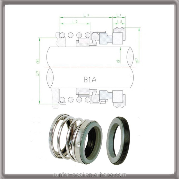 Double face rubber bush mechanical seal for water pump type 208