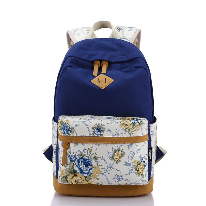 c7b942e1aeaf Brand Genuine Quality Floral Leather Canvas Bag Backpack School for Teenager  Girl Laptop Bag Printing Backpack Women Backpack