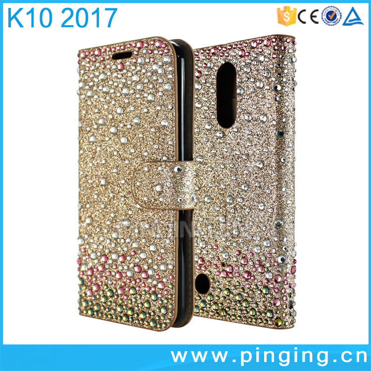 New Luxury colorful diamond glitter card slot wallet leather for LG K10 2017, stand case for LG K20 plus