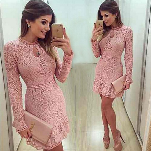 Women Fashion Casual Lace <strong>Dress</strong> 2018 O-Neck Sleeve Pink Evening Party <strong>Dresses</strong>