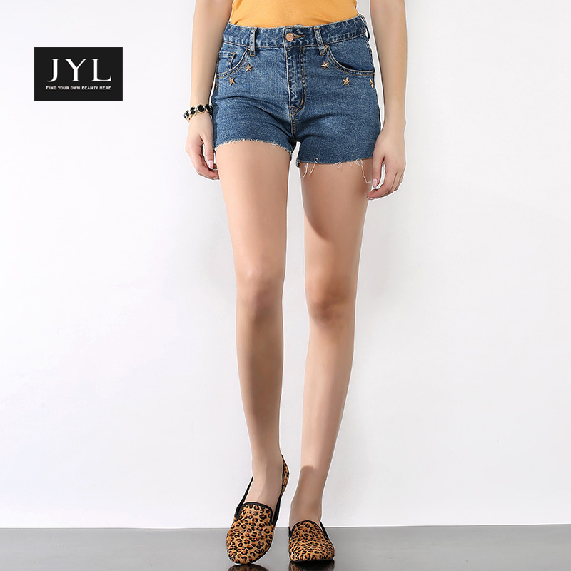 JYL 2015 Summer style retro rivets high waisted denim shorts,stars metal rough cuff short jeans shorts,stretch sexy women shorts