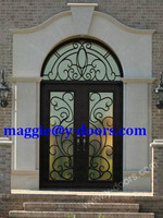 wrought iron double door matched circle transom steel entry double door American front door