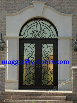 Wrought Iron Double Door Matched Circle Transom Steel Entry American Front