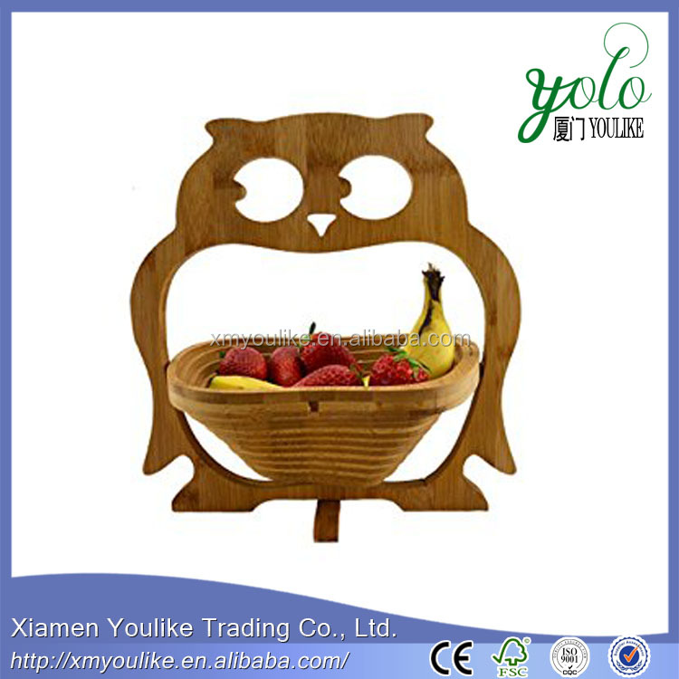 wooden bamboo ceramic fruit basket with banana holder