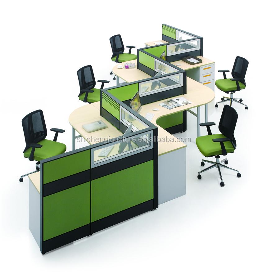 Modular Office Furniture 5 Person Desk Cubicle Workstation Parion Aluminum Open