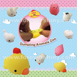 OEM ODM Cute Kawaii Mochi Plastic Gift Gashapon Toys Stretchy Squeeze Squishy Oyuncaklar Soft TPR Dumpling Animal with Capsule