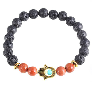 Wholesale lava stone beads jewerly the hamsa hand bracelet