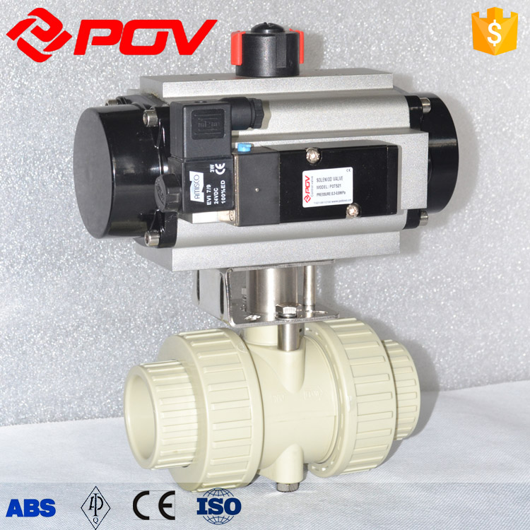 pvc pph pneumatic ball valve with limit switch