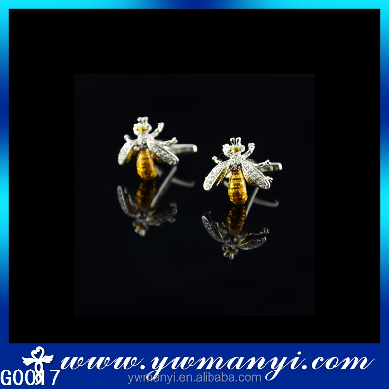 Shirt cufflinks for mens unique rhinestone bee cufflink in jewelry cuff G0017