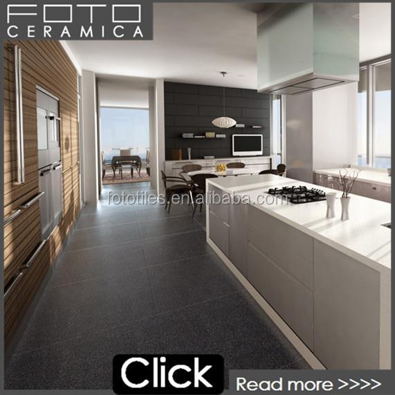 Zwart quartz tegel voor industriële keuken vloer kwarts steen ...