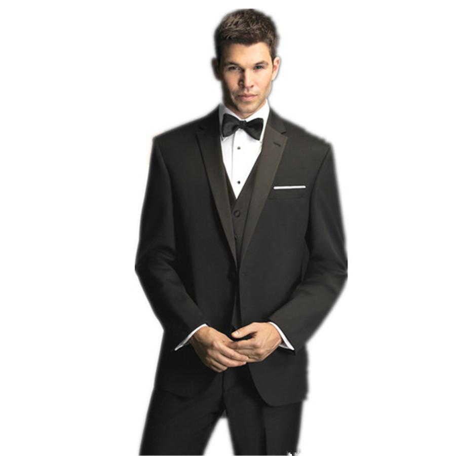 2a9d7c46fb6 Customized men suits for wedding Narrow Notch Lapel Black Mens Groom Wear  Wedding