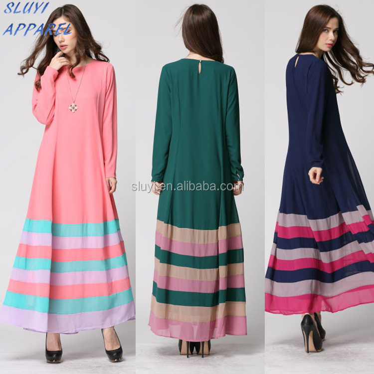 Fashion designed Islamic Women silk route abaya dress ethnic clothing of muslim women long pattern irani abaya