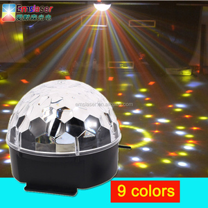 9 Colors Crystal Magic Ball Led Stage Disco Party light Sound Control