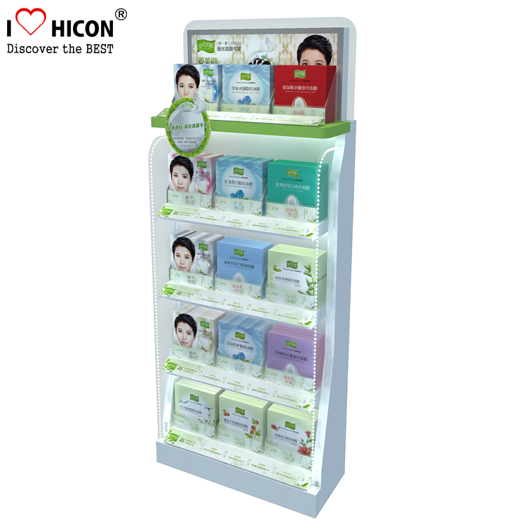 Deliver POS displays On Time Wooden Floor Standing 5-Tiered Lighting Fashion Cosmetic Makeup Store Display