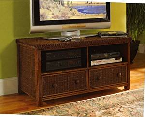 Solid All Natural Rattan and Wicker 48 Inch Flat Screen TV and Stereo Cabinet