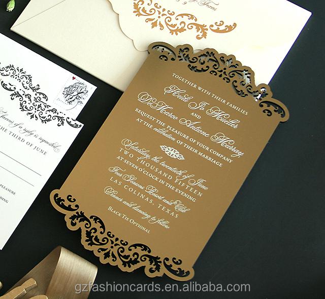 Luxury Engraved Gold Mirror Acrylic Wedding Invitations Buy Luxury