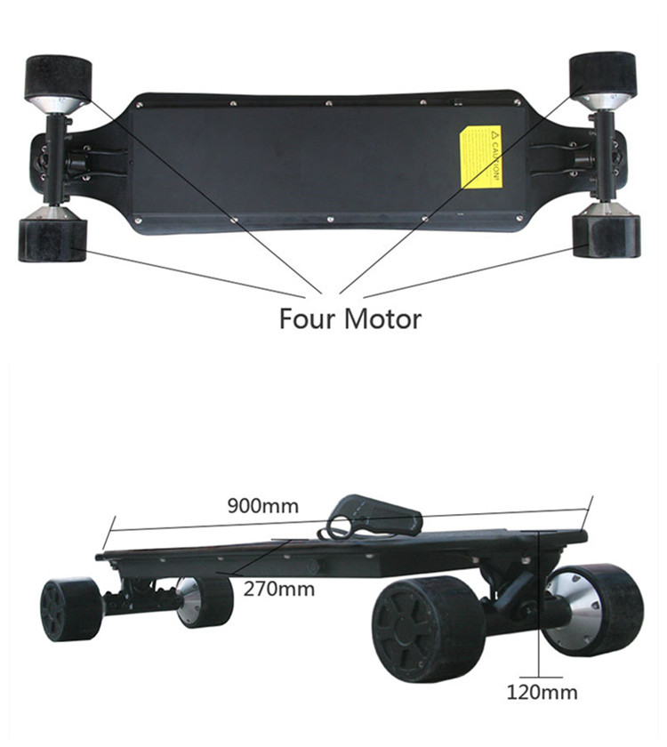2018 new design 10s4p battery pack electric skate board powered 4 hub motors electric skateboard longboard