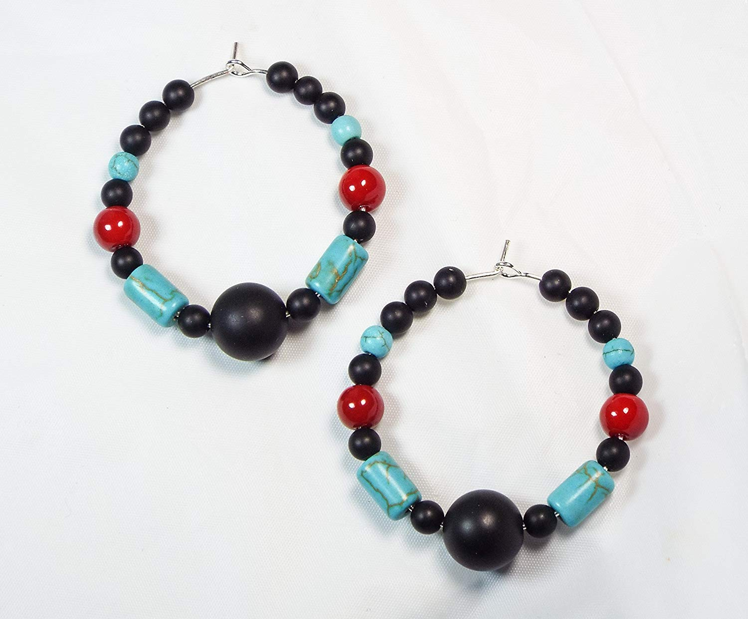 "Cynthia Lynn ""DRAMA"" Matte Onyx, Red Coral, and Turquoise Howlite Beaded Hoop Earrings"
