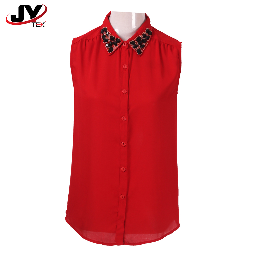 OEM Ladies Summer Red Button Down Western Collared Sleeveless Chiffon Shirts