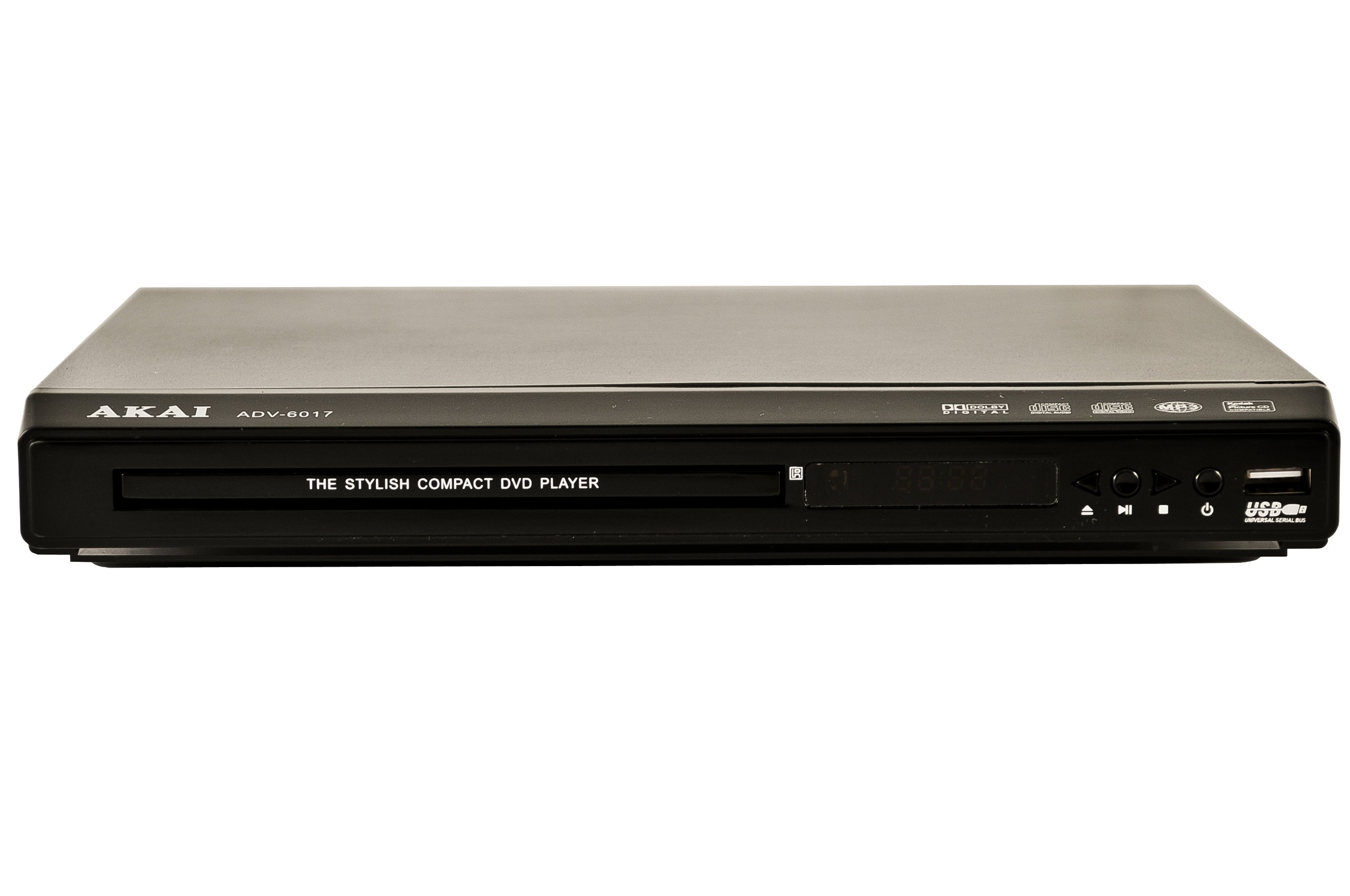 Akai ADV-6017- All Region Codefree Multi-System DVD Player 110/220V Worldwide Use. Plays DVD, SVCD, VCD, MP3, JPEG on Any TV - Remote