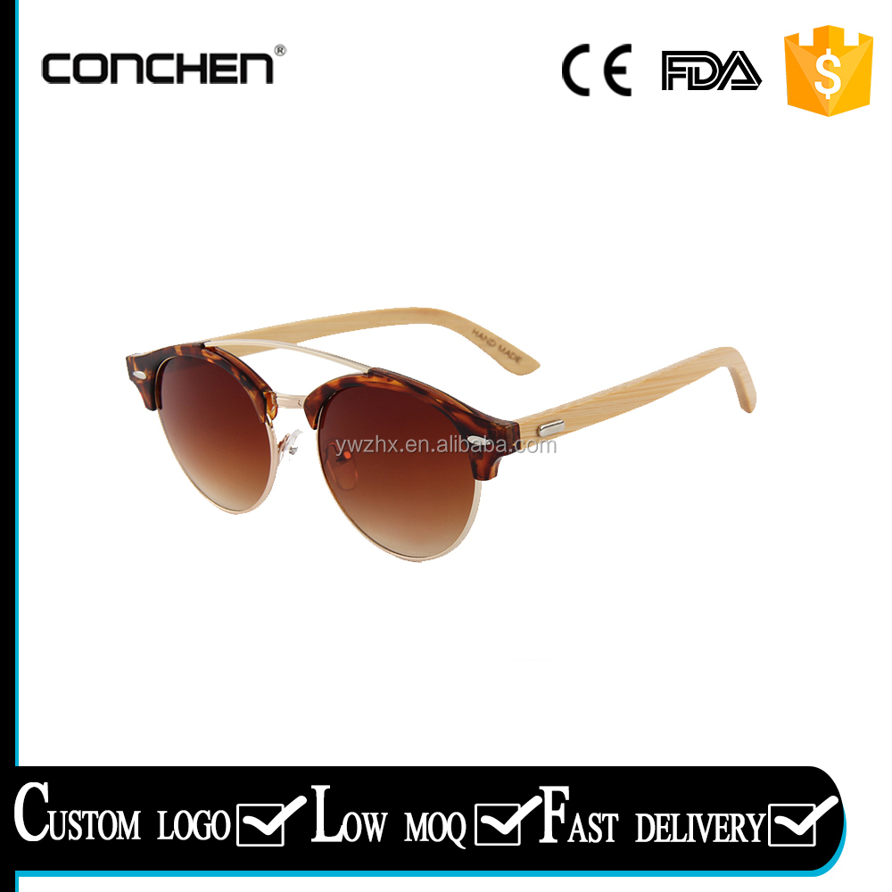 New fashion sunglasses men half frame sunglasses bamboo oem