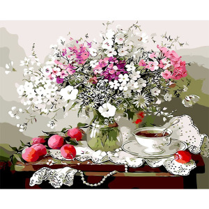 Wholesale 3d diy flower painting by numbers kits modern painting flower inserted in a glass bottle for home decoration