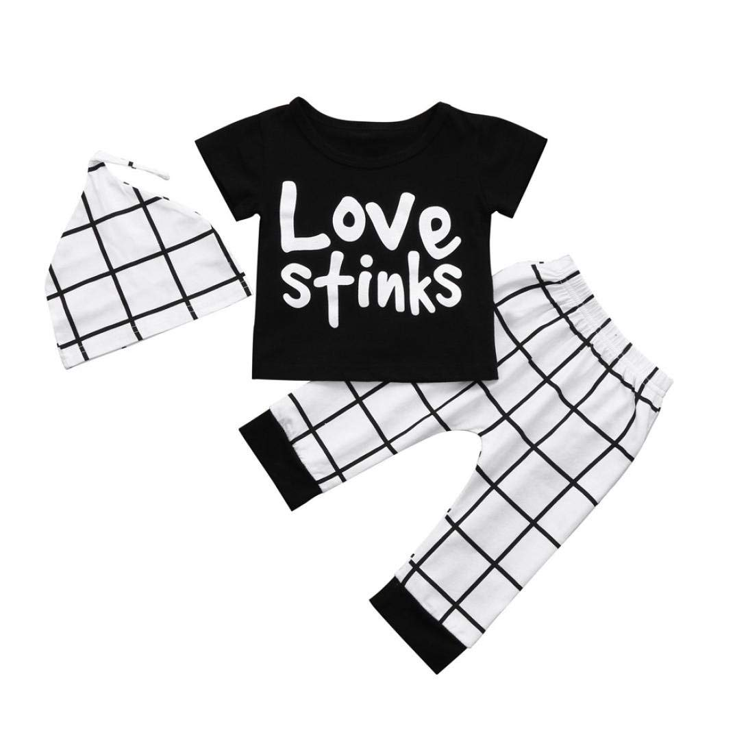 WARMSHOP Toddler Baby Boy Lettering Printed Checked Pants And T-shirt Set