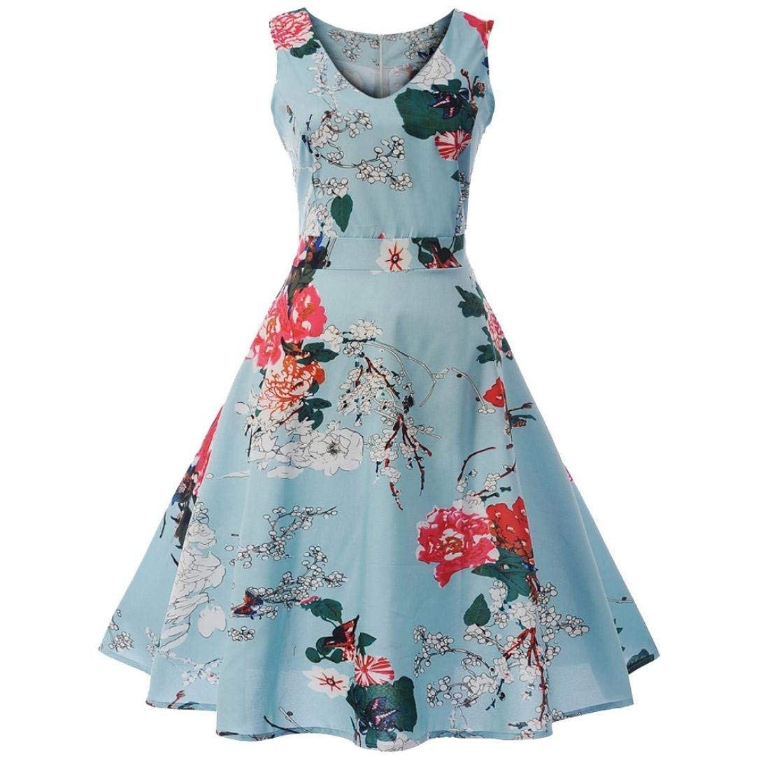 Yuxikong Swing Dress,Women Vintage Sleeveless V Neck Printed Bow Evening Party Prom Mini Dress