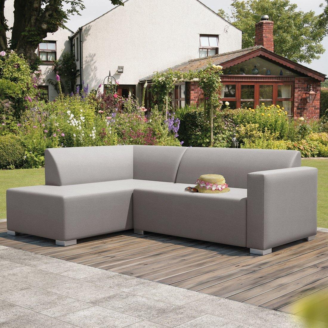 AuthenTEAK 2-Piece Angle Luxury Modern Deep Seating Sectional - (Light Grey)