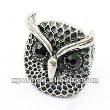Fashion Antique Silver Plated Owl Shape Man Ring With Black Eyes