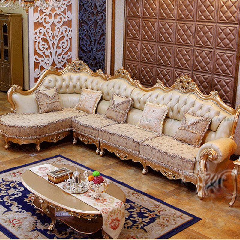 european style luxury living room with leather sofas wood