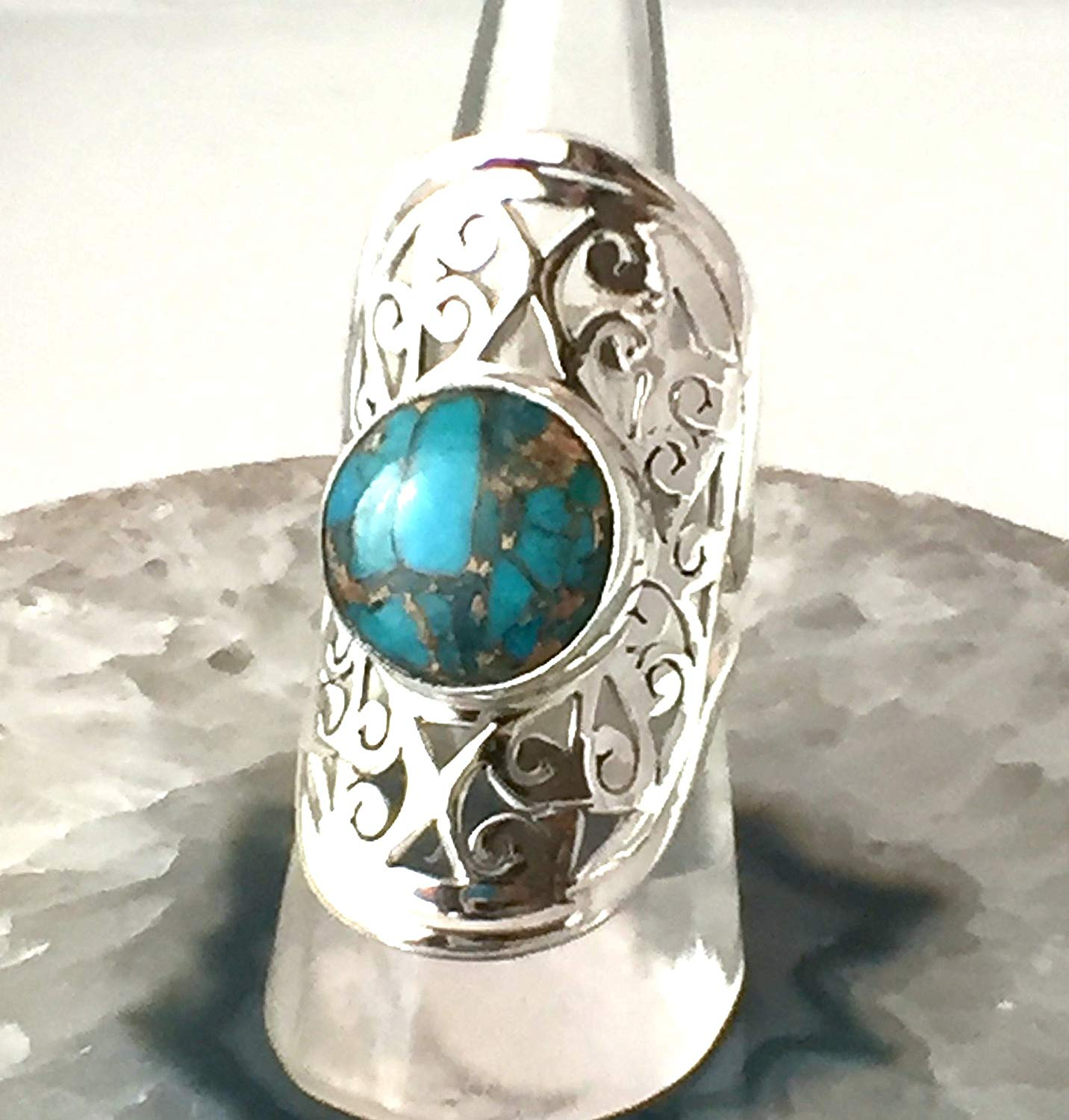 """Sz 7.5, Genuine Arizona Blue Mohave TURQUOISE, 925 Sterling Silver, Statement Designer Ring (1.4"""" Long) Jewelry."""