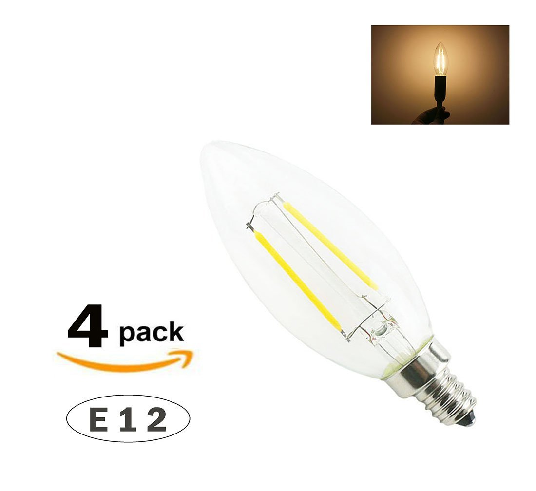 Lamsky 4-Pack LED Filament Candle Light Bulb Clear Glass E12 Screw Base C35 2 Watt No-Dimmable Warm White 2700K 15-Watt Incandescent Equivalent