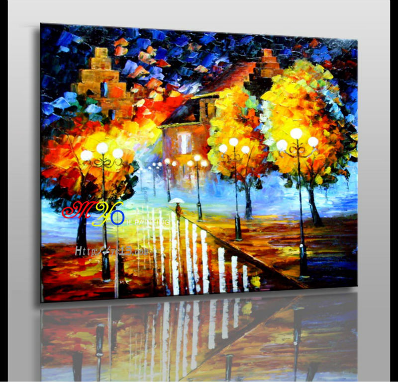 hot selling knife street landscape Remarkable art oil painting ct-107