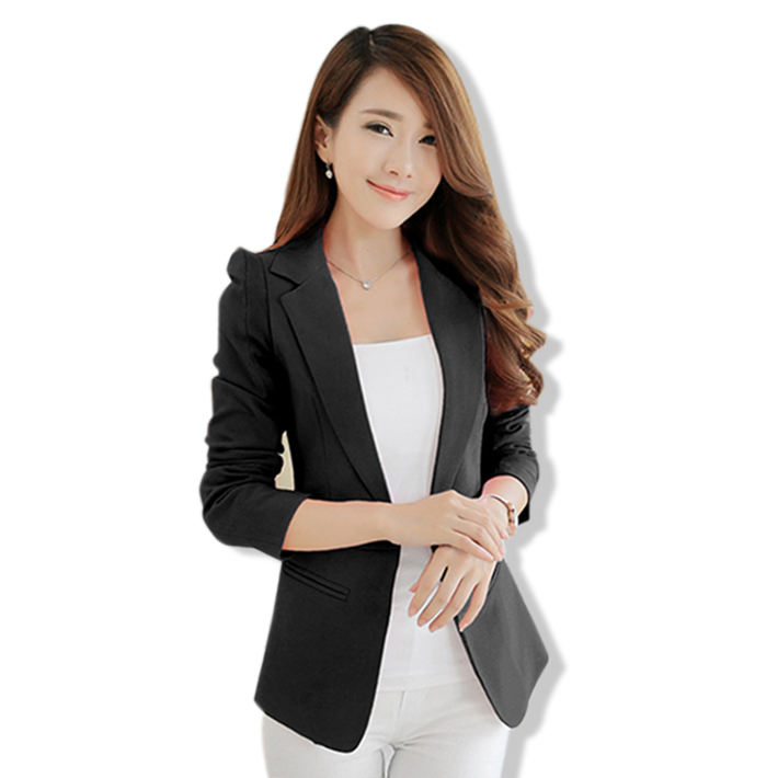 Women One Button Coat Solid Long Sleeve Blazer Feminino 2015 Korea Spring Autumn Ladies Business Formal Office Suits Plus Size