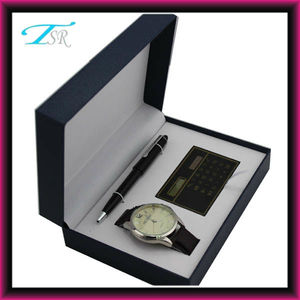 2018 elegant watch pen gift set for men (watch+pen+calculate) with nice packing in charming box at cheap price