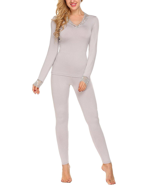Aimado Women's Lace Patchwork Underwear Cotton Packages Lined Base Layer Sleepwear Set S-XXL