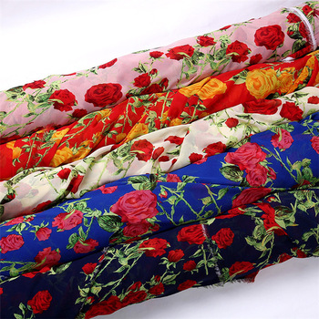 printed beautiful voile/chiffon fabric for scarf