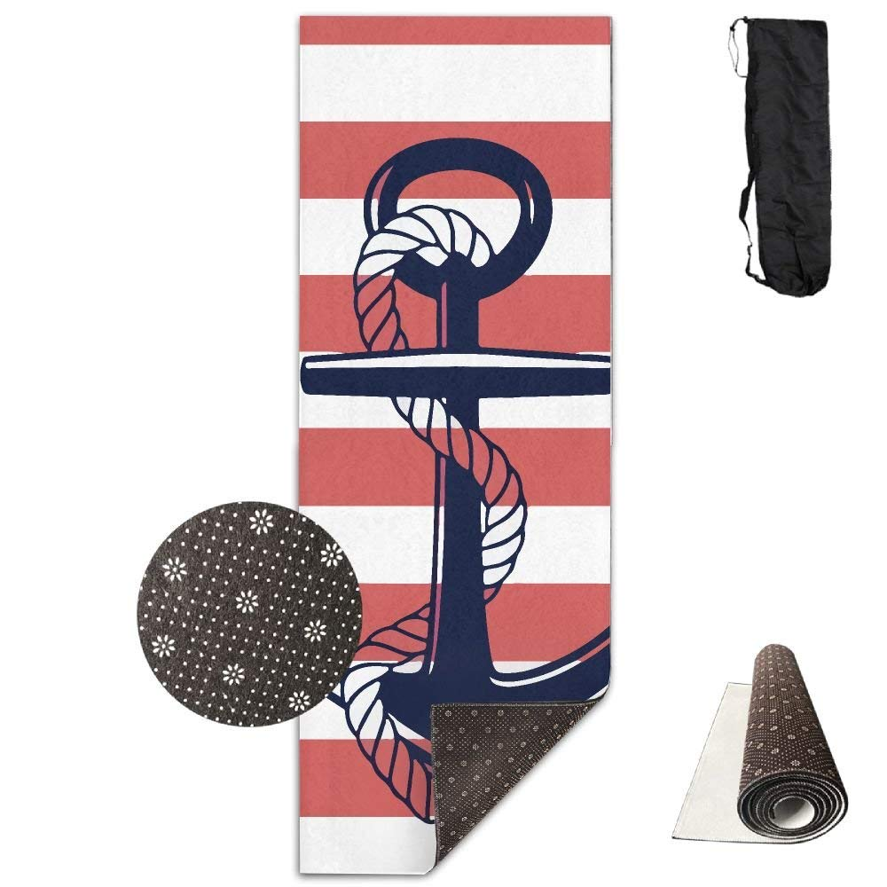 QNKUqz Anchor With Red Stripe Deluxe Yoga Mat Aerobic Exercise Pilates