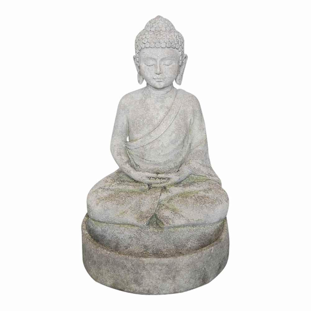 """Comfy Hour 13"""" Garden Accent Polyresin Sitting in Meditation Buddha Figurine, Water-Resistant Stone Like Statue, Gray"""