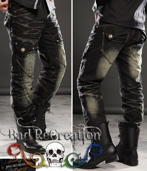 Mens Designer Cool Pocket Black Jeans 088 - Buy Mens Jeans