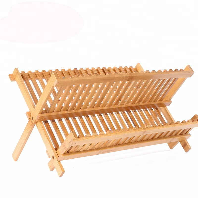 Bamboo Plate Rack For Cabinet Compact dish Kitchen Storage Holder Stand for Dish / Bowl
