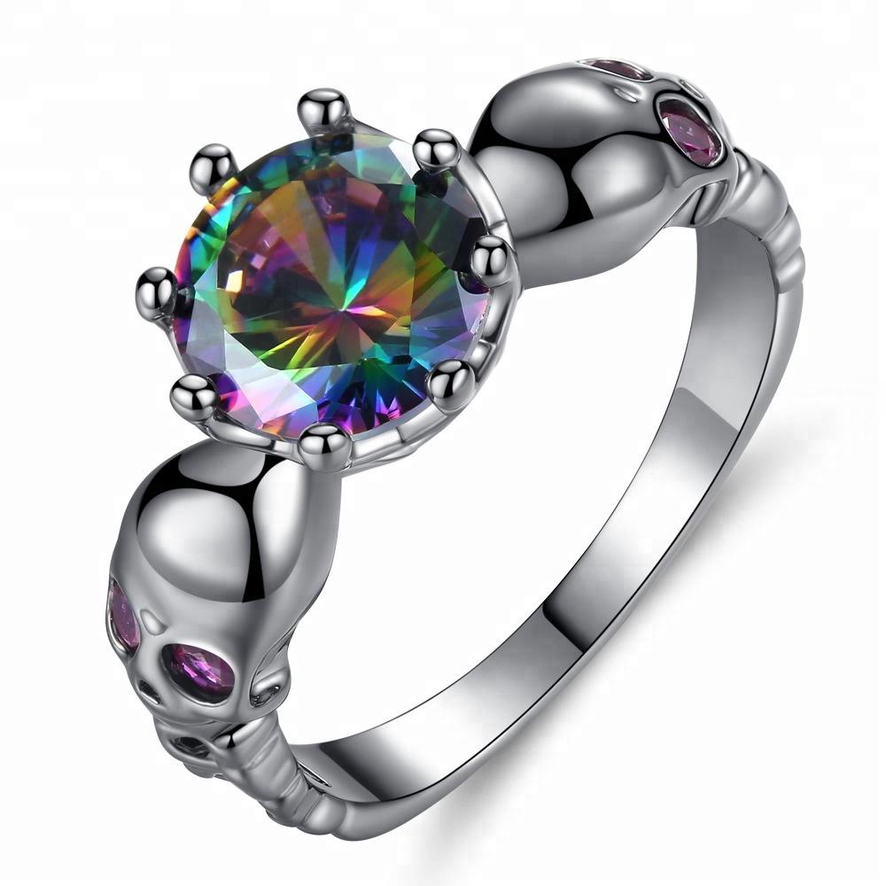 fd1cfc357981 Chica Rock cráneo mujeres anillos de piedras preciosas AAA Cubic Zirconia moda  anillo negro