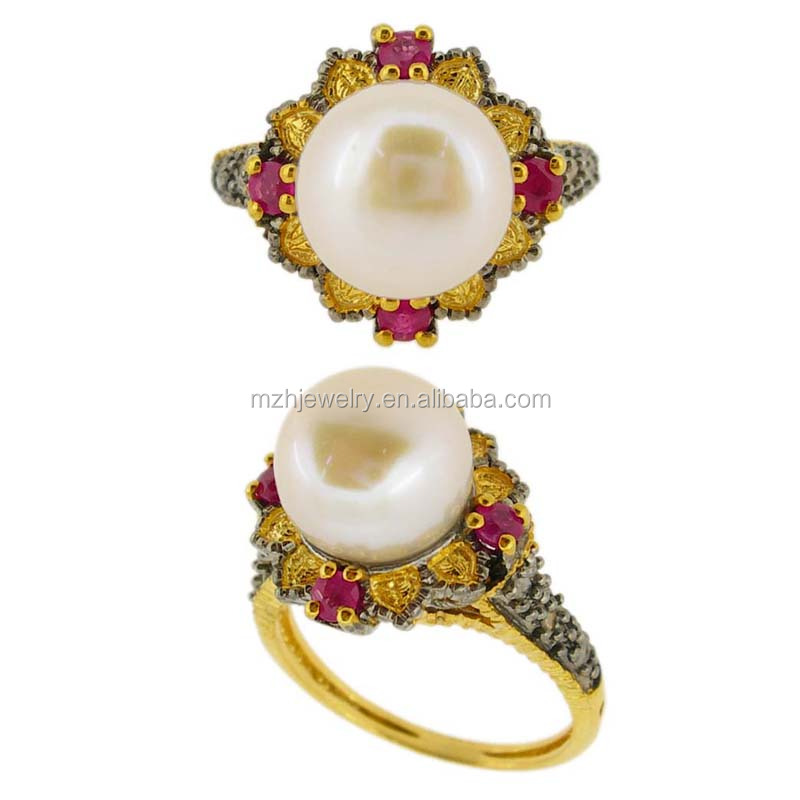 Classical new fine jewelry silver mix 9K gold diamond Ruby pearl finger ring designs