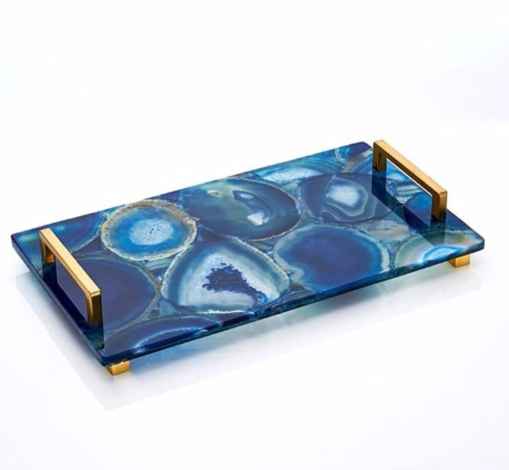 Crystal Crafts Natural Agate Tray Coaster Platter