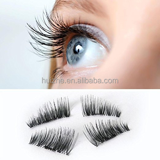 False Eyelashes, Women Ultra-thin 0.2mm Magnetic Eye Lashes 3D Reusable Magnet Eyelashes Extension (Black)