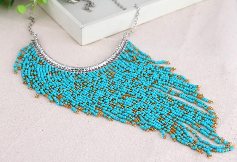 100% עבודת יד בסגנון בוהמי זמן ציצית תכשיטי אופנה צבע טורקיז תליון חרוזים הצהרה שרשרת XL5180