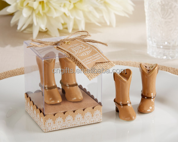 New!! Wedding Thank You Gifts for Guests Just Hitched Ceramic Cowboy ...